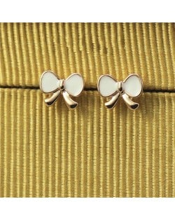 Oil Spot Glazed Adorable Bowknot Rose Gold Ear Studs - White