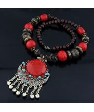 Bohemian Ethnic Beading Design Round Gem Pendant with Tiny Bells Necklace - Red