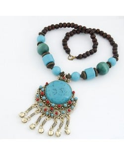 Bohemian Ethnic Beading Design Round Gem Pendant with Tiny Bells Necklace - Blue