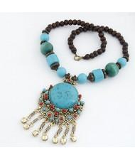 Bohemian Ethnic Beading Design Round Gem Pendant with Tiny Bells Necklace - Blue