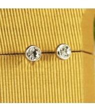 Rhinestone Inlaid Classic Plain Style Platinum Plated Ear Studs