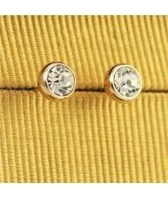 Rhinestone Inlaid Classic Plain Style Rose Gold Ear Studs