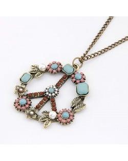 Vintage Elegant Peace Symbol Pendant Necklace