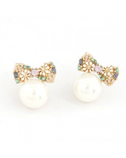 Unique Chrysanthemum Bowknot Ball Pearl Ear Studs