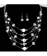 Korean Style Crystal Beads Multi-layer Costume Necklace and Earrings Set - White