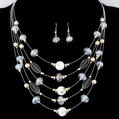 Korean Style Crystal Beads Multi Layer Costume Necklace And Earrings Set White
