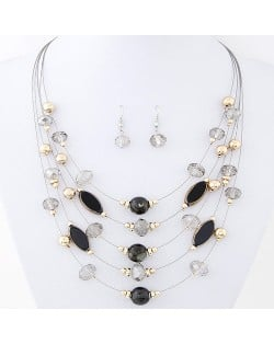 Korean Style Crystal Beads Multi-layer Costume Necklace and Earrings Set - Black