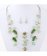 Korean Style Crystal Beads Multi-layer Costume Necklace and Earrings Set - Green