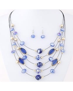 Korean Style Crystal Beads Multi-layer Costume Necklace and Earrings Set - Blue