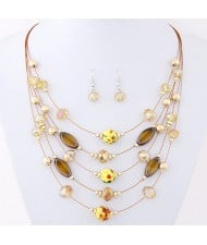 Korean Style Crystal Beads Multi-layer Costume Necklace and Earrings Set - Champagne