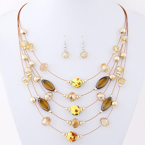 Korean Style Crystal Beads Multi Layer Costume Necklace And Earrings Set Champagne