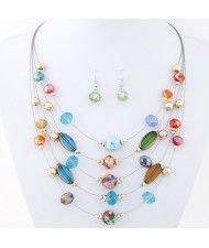 Korean Style Crystal Beads Multi-layer Costume Necklace and Earrings Set - Multicolor