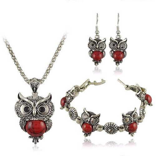 Turquoise Inlaid Night Owl Theme Fashion Necklace Bracelet And Earrings Set Red