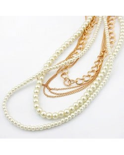 Korean Fashion Pearl and Chain Combo Multilayer Necklace