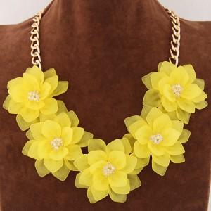 Dimensional summer graceful flowers cluster design fashion necklace dimensional summer graceful flowers cluster design fashion necklace yellow mightylinksfo