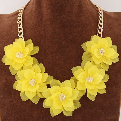 Dimensional summer graceful flowers cluster design fashion necklace dimensional summer graceful flowers cluster design fashion necklace yellow mightylinksfo