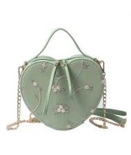 4 Colors Available Lace Floral Decorated Heart Shape Women Handbag/ Shoulder Bag