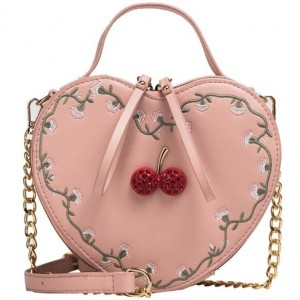 4 Colors Cherry Decorated Heart Shape Women Fashion Handbag/ Shoulder Bag