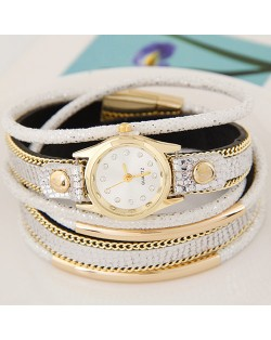 Golden Metallic Pipes Decorated Multiple Layers Leather Women Fashion Wrist Watch - White
