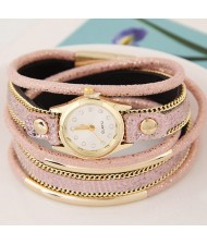 Golden Metallic Pipes Decorated Multiple Layers Leather Women Fashion Wrist Watch - Pink