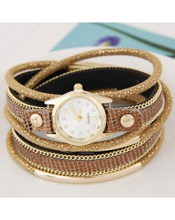 Golden Metallic Pipes Decorated Multiple Layers Leather Women Fashion Wrist Watch - Golden