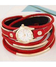Golden Metallic Pipes Decorated Multiple Layers Leather Women Fashion Wrist Watch - Red