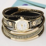 Golden Metallic Pipes Decorated Multiple Layers Leather Women Fashion Wrist Watch - Black