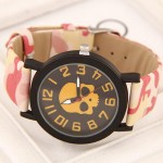 Popular Fashion Skull with Camouflage Wrist Band Watch - Yellow