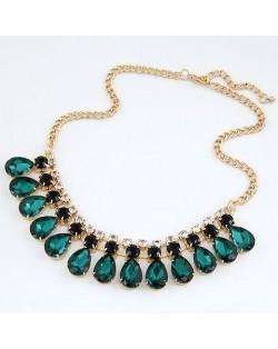 Gorgeous Rhinestone Inlaid Waterdrop Pendants Design Fashion Necklace - Ink Green