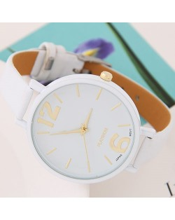 Coloful Candy Color Casual Style Women Sport Fashion Wrist Watch - White