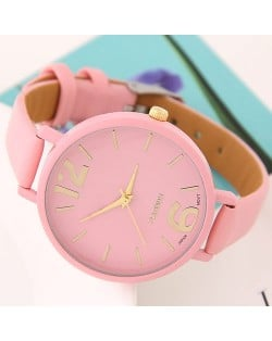 Coloful Candy Color Casual Style Women Sport Fashion Wrist Watch - Pink