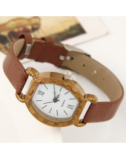 Studs Decorated Vintage Golden Square with Roman Numeral Dial Design Fashion Wrist Watch - Coffee
