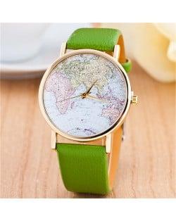 World Map Theme Women Fashion Leather Wrist Watch - Green
