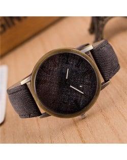 Jean Texture Leather Fashion Wrist Watch - Black