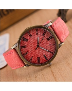 Jean Texture Leather Fashion Wrist Watch - Pink