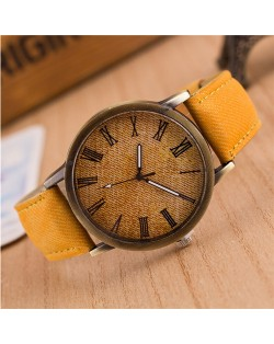 Jean Texture Leather Fashion Wrist Watch - Yellow