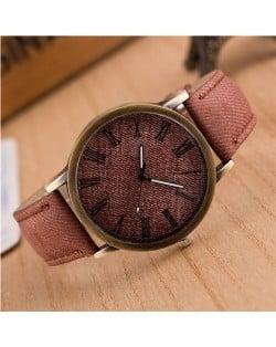 Jean Texture Leather Fashion Wrist Watch - Brown