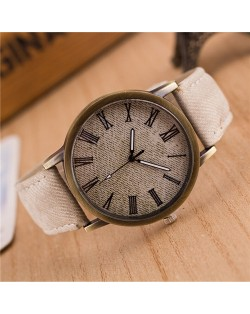 Jean Texture Leather Fashion Wrist Watch - White