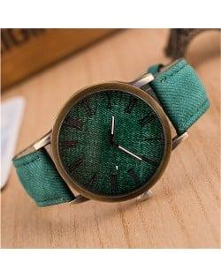 Jean Texture Leather Fashion Wrist Watch - Green