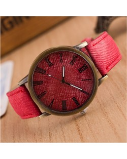 Jean Texture Leather Fashion Wrist Watch - Red