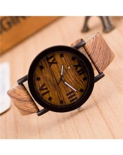 Vintage Grain of Wood with Roman Numerals Design Fashion Wrist Watch - Style 1