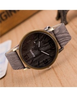 Vintage Grain of Wood with Roman Numerals Design Fashion Wrist Watch - Style 2