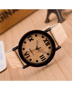 Vintage Grain of Wood with Roman Numerals Design Fashion Wrist Watch - Style 4