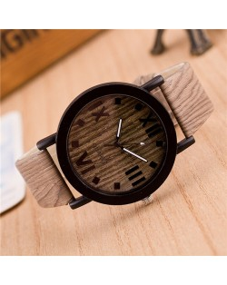 Vintage Grain of Wood with Roman Numerals Design Fashion Wrist Watch - Style 5