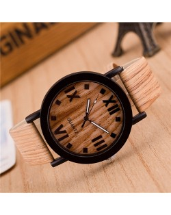 Vintage Grain of Wood with Roman Numerals Design Fashion Wrist Watch - Style 6