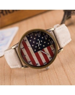 Vintage U.S. National Flag Dial with Jean Wrist Band Design Fashion Watch - White