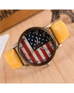 Vintage U.S. National Flag Dial with Jean Wrist Band Design Fashion Watch - Yellow