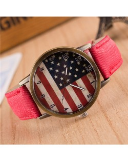 Vintage U.S. National Flag Dial with Jean Wrist Band Design Fashion Watch - Red