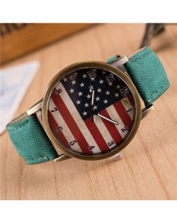 Vintage U.S. National Flag Dial with Jean Wrist Band Design Fashion Watch - Green