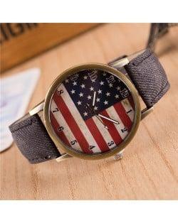 Vintage U.S. National Flag Dial with Jean Wrist Band Design Fashion Watch - Black